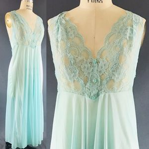 Vintage Adonna Gown Nightgown Nylon Long Aqua M